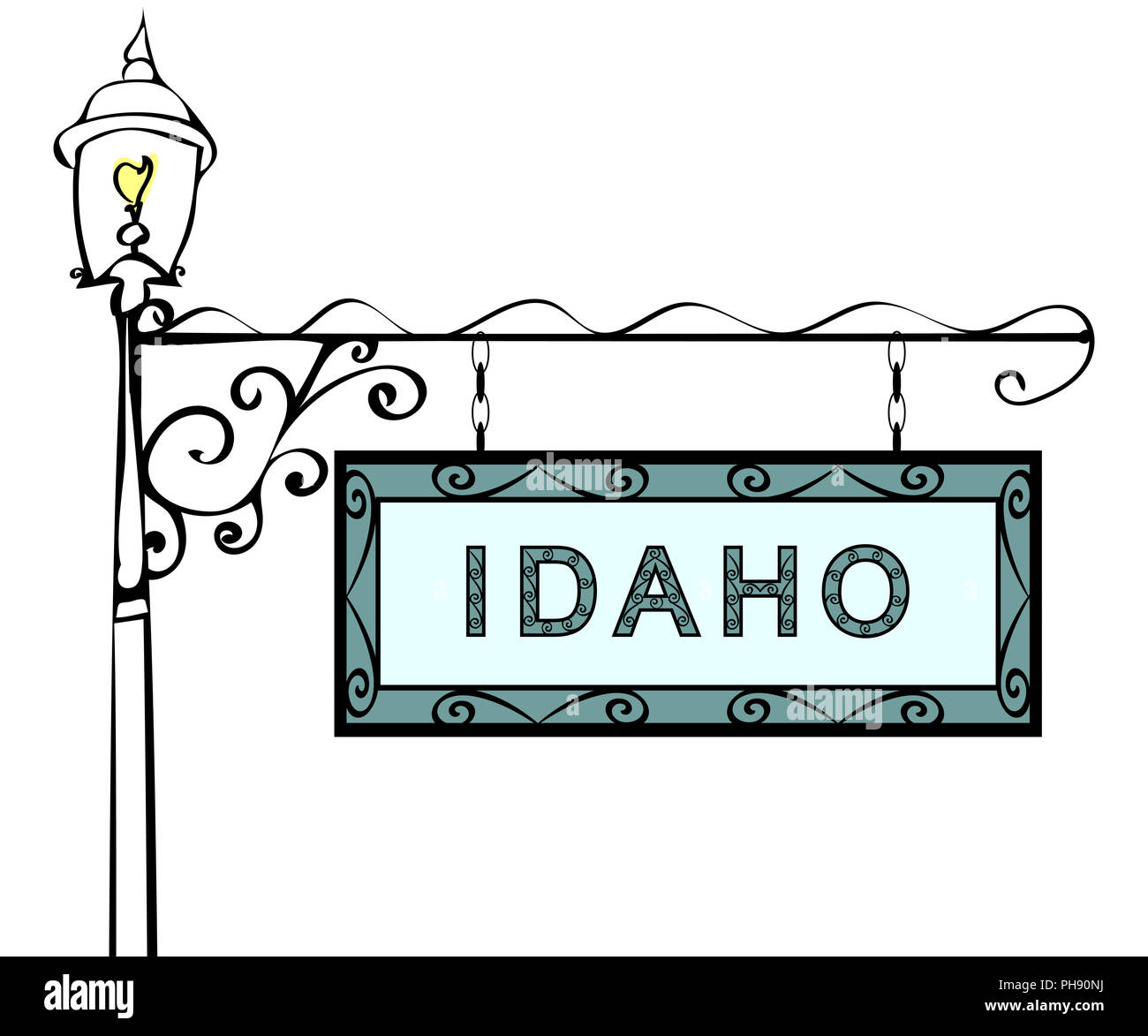 Idaho retro pointer lamppost. - Stock Image