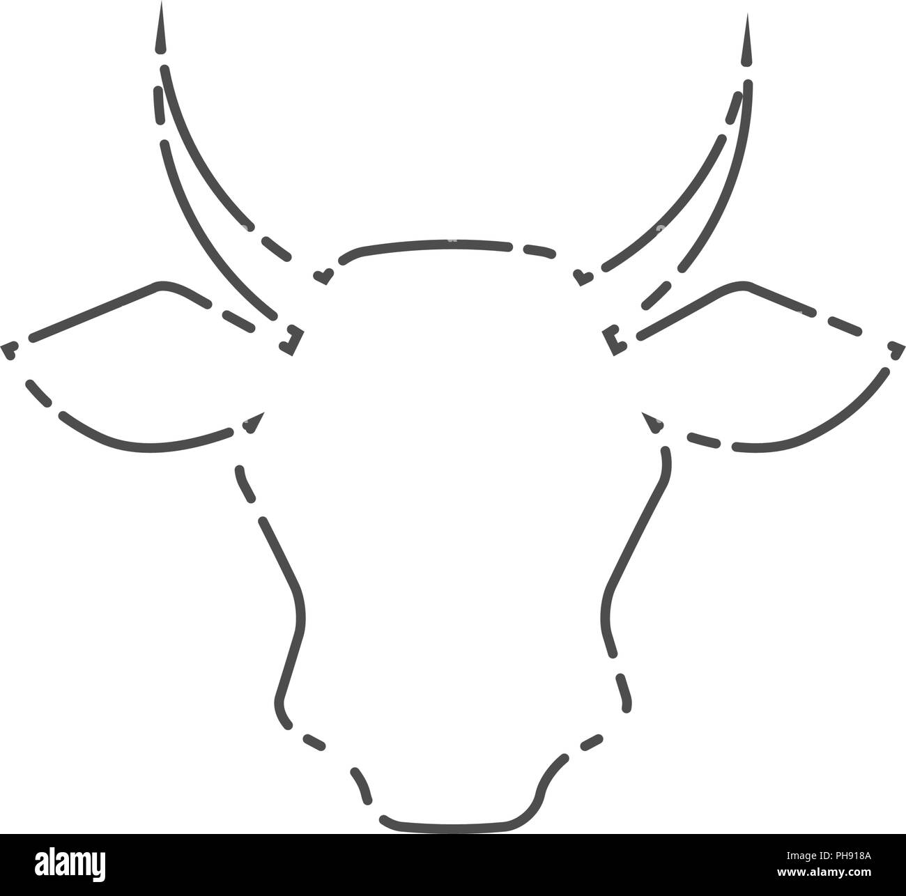 Cow Head Livestock Line Icon Vector Line Art Cow Face Farm Meat