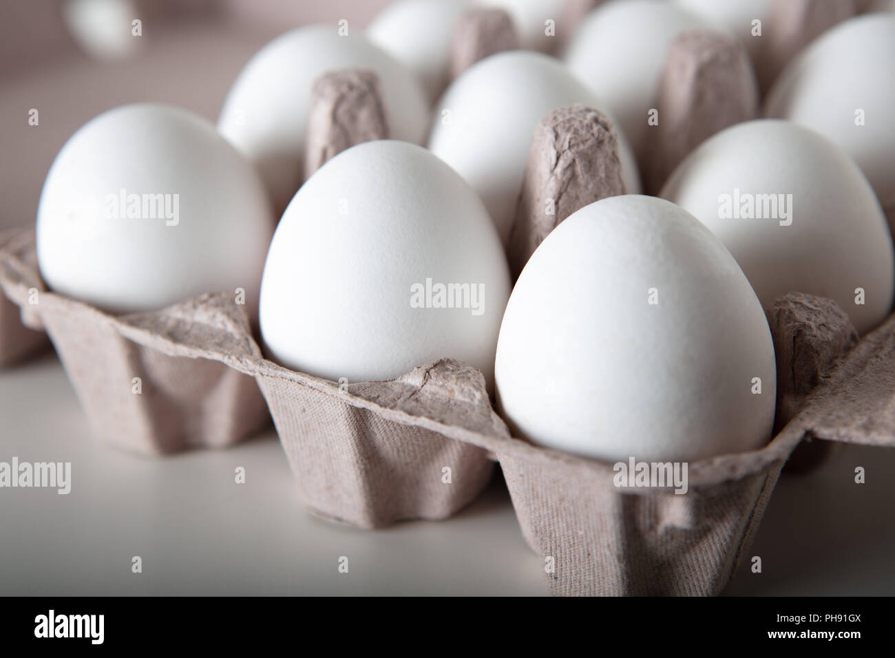 Close up eggs on paper tray selective focus, full frame high quality ...