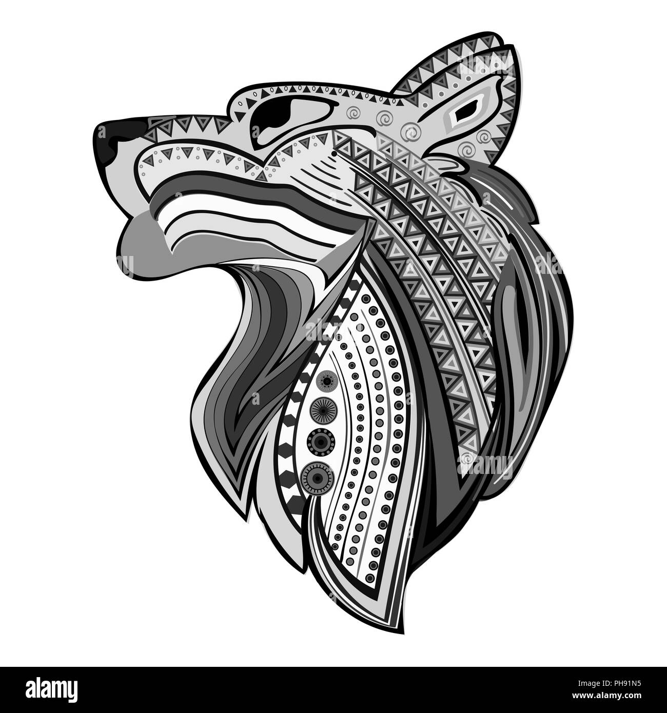 Vintage wolf head ethnic black white hand draw pattern. - Stock Image