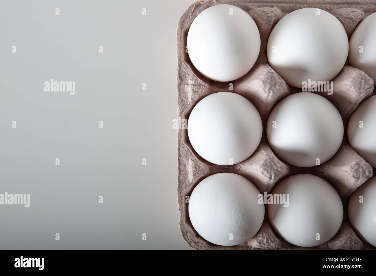 Top view of fresh eggs on paper tray. Full frame high quality image ...
