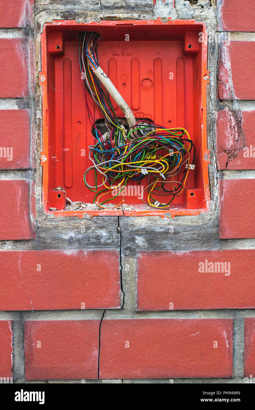 Swell Wires On Red Brick Wall Stock Photo 217174993 Alamy Wiring 101 Akebretraxxcnl