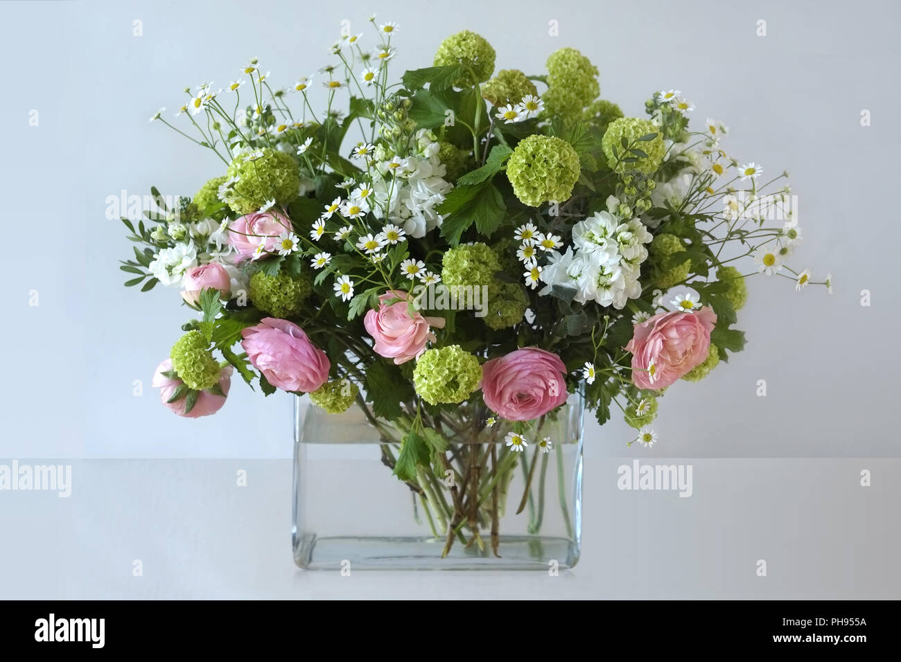 Spring Bouquet / Pink, white, lime - Stock Image