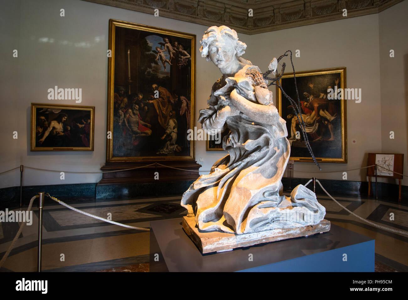 Vatican city, Rome - March 07, 2018: Bernini preparatory model of an angel in Pinacoteca gallery in Vatican museums - Stock Image