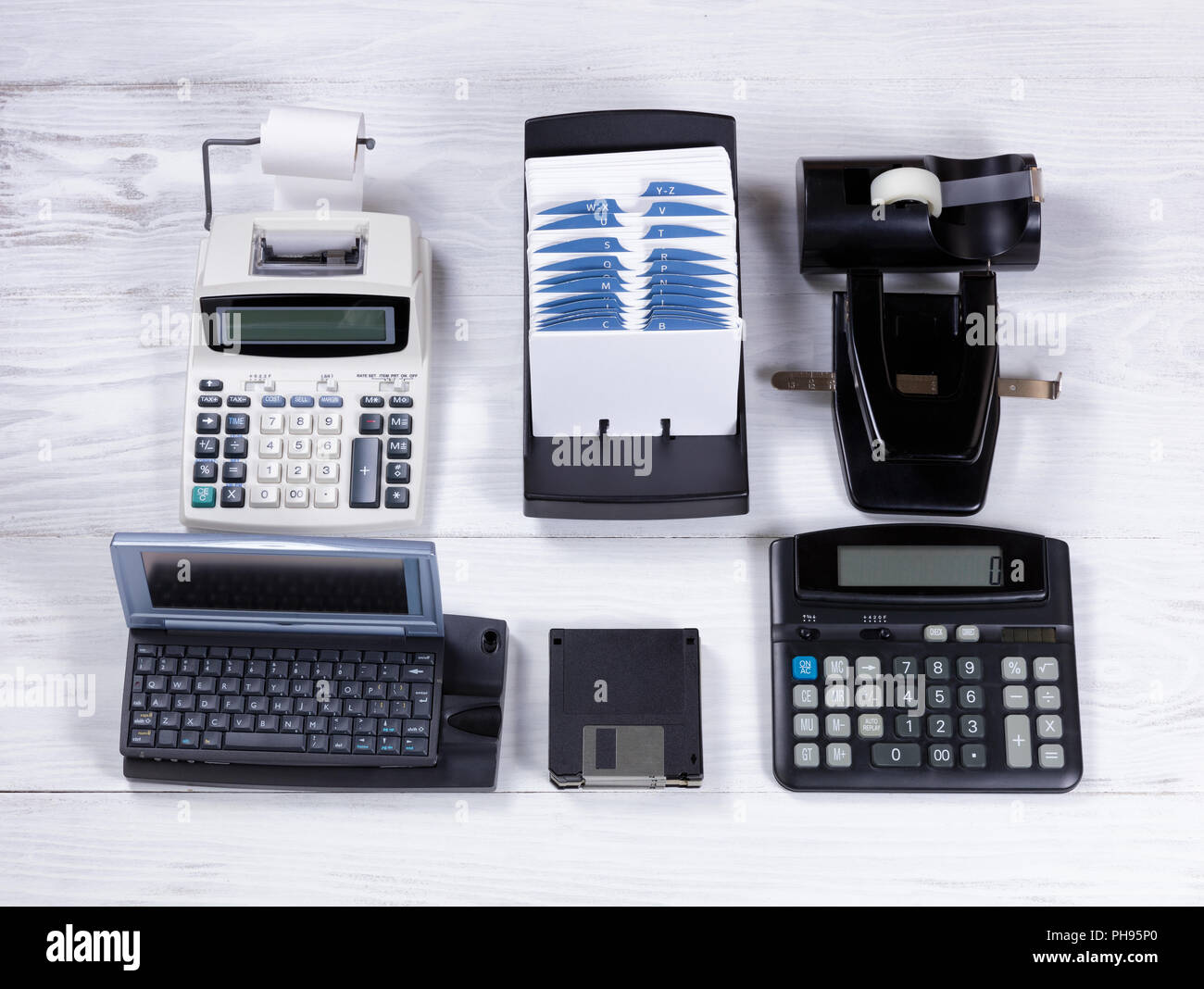 Vintage office equipment being replaced by computer technology - Stock Image