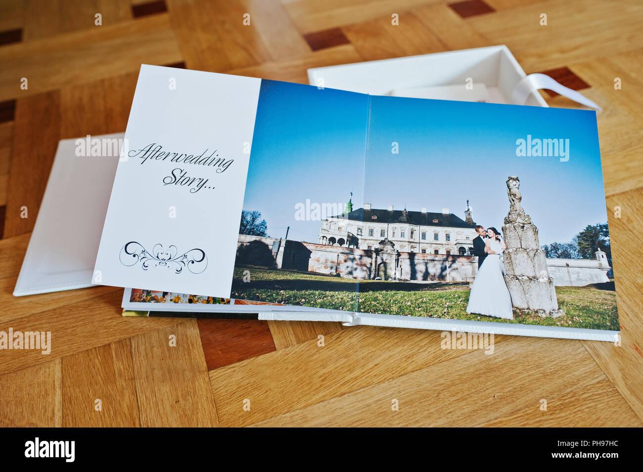 White Leather Wedding Book Or Wedding Album On Wooden Background Stock Photo Alamy