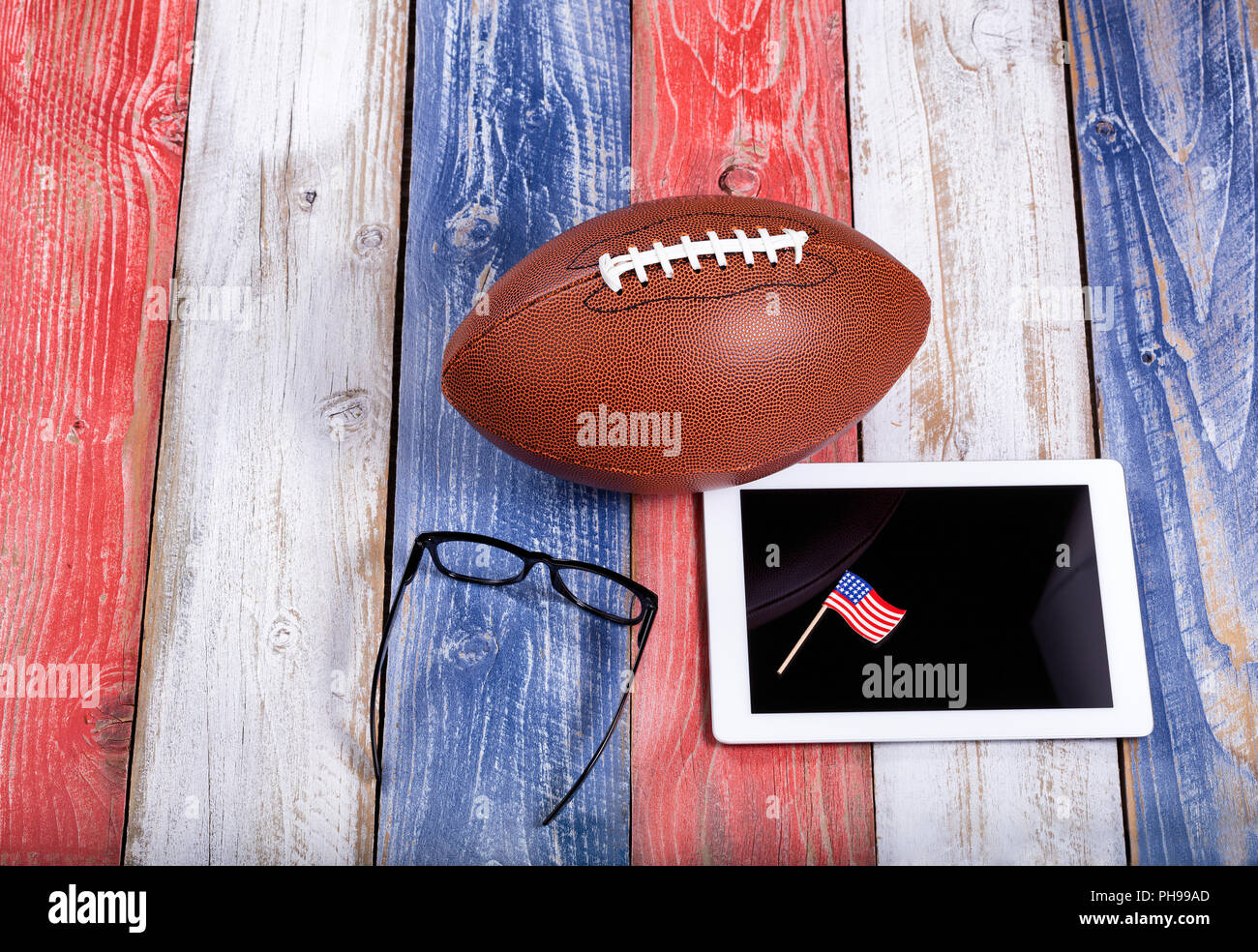 Analyzing American football game with computer technology - Stock Image
