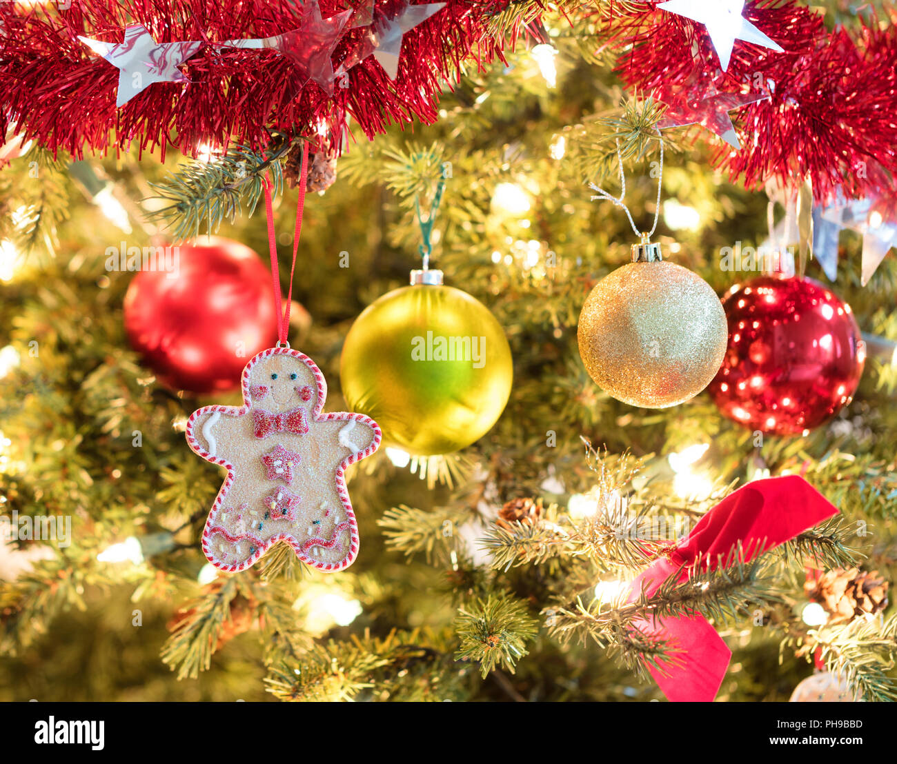 holiday cookie hanging from fully decorated christmas tree stock image - Fully Decorated Christmas Tree