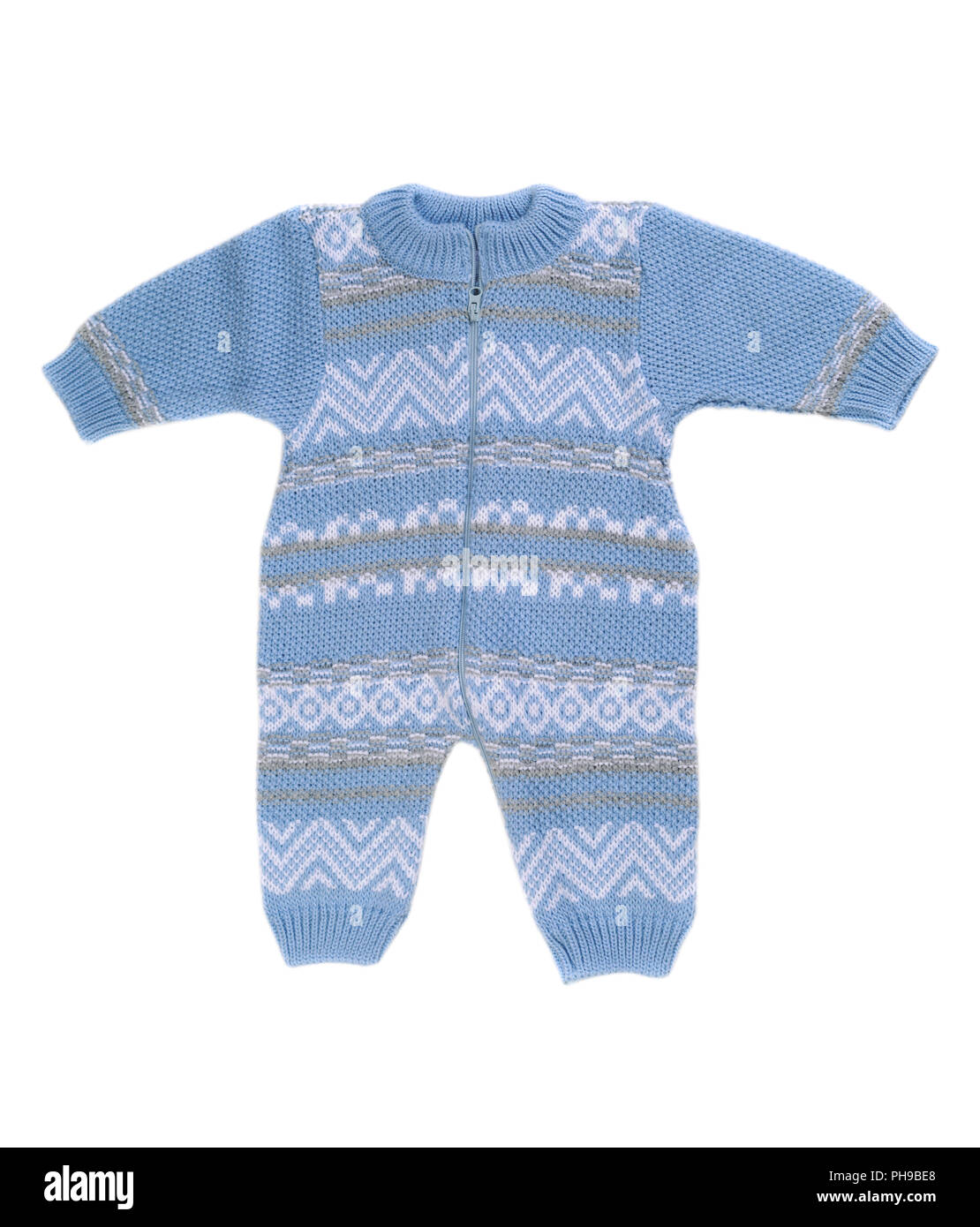 Knitted blue rompers. - Stock Image