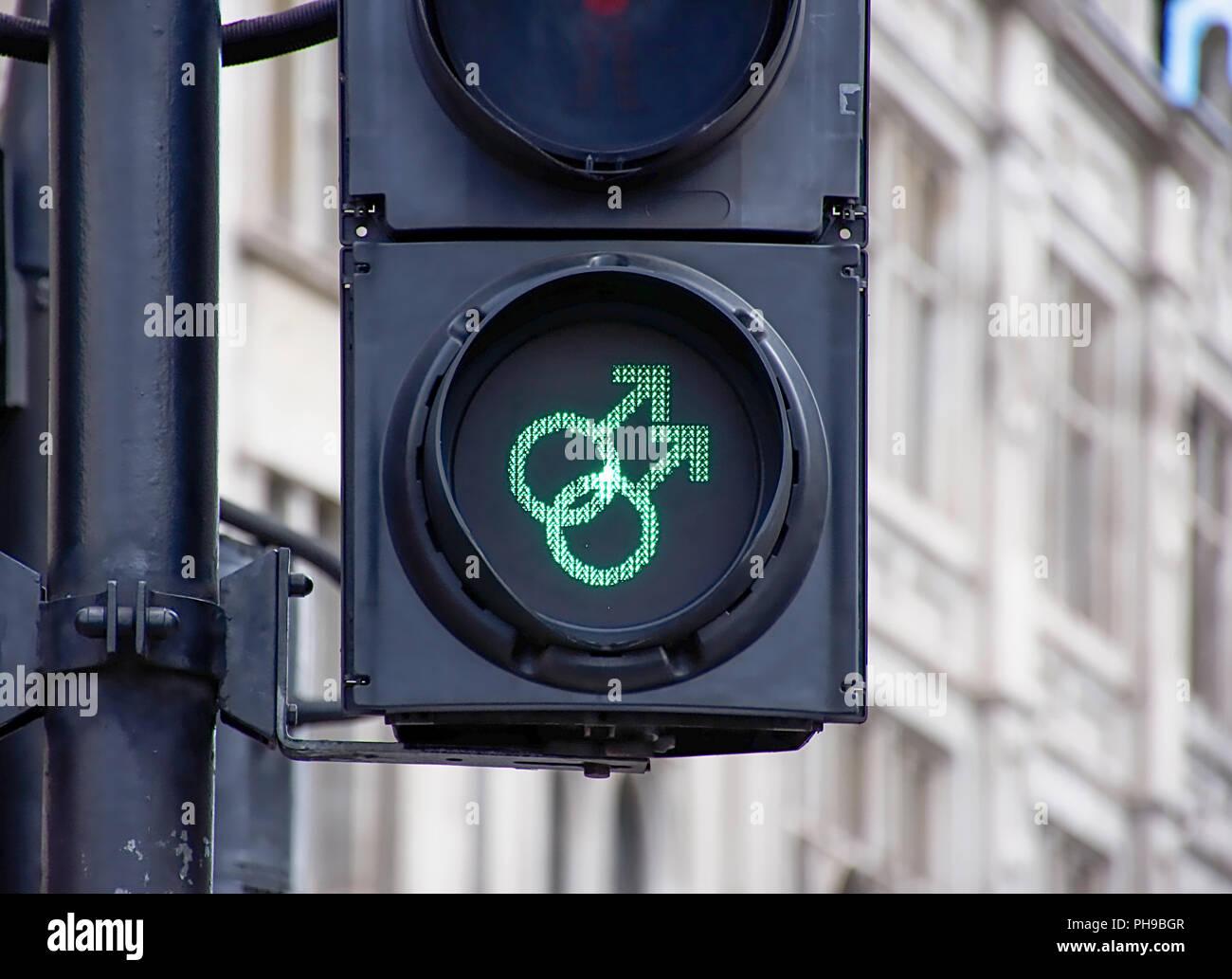 Trafalgar square,London/Uk-08.06.2017.Equality traffic lights on pedestrian crossing marking anniversary of  decriminalization of homosexuality.LGBTQ. - Stock Image
