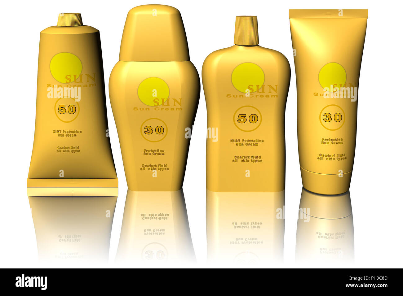 3D illustration. Sunscreen. Products for the beach isolated on white background. - Stock Image