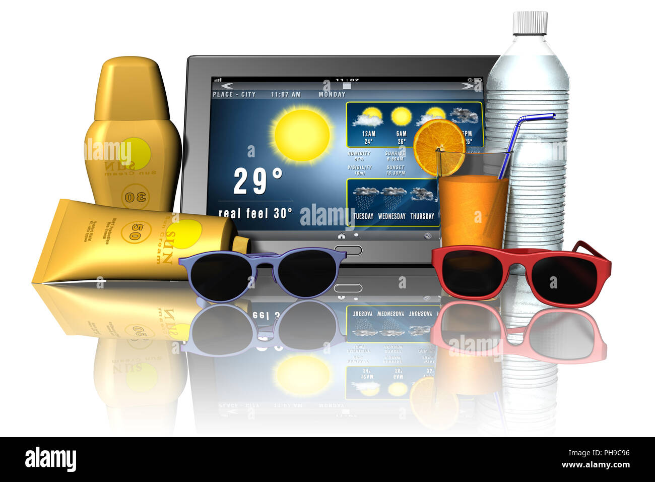 3D illustration. Tablet app with weather and holiday items beach. - Stock Image