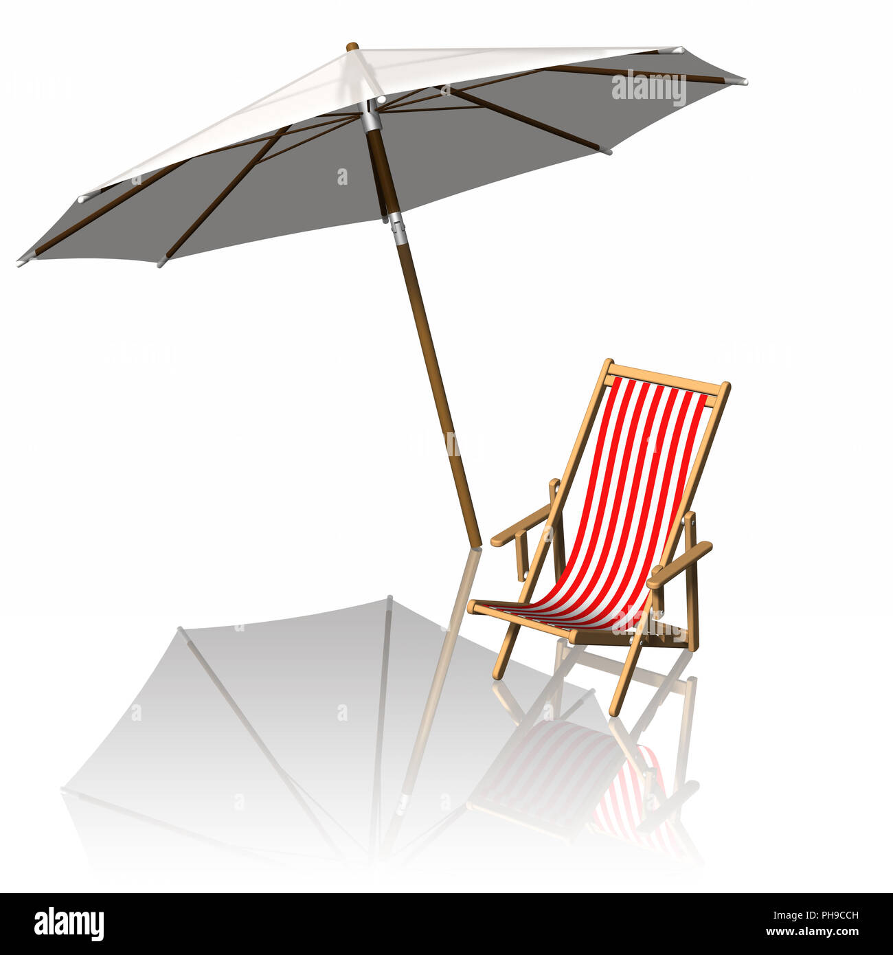 3D illustration. Summer holiday. Beach chair with beach umbrella. - Stock Image