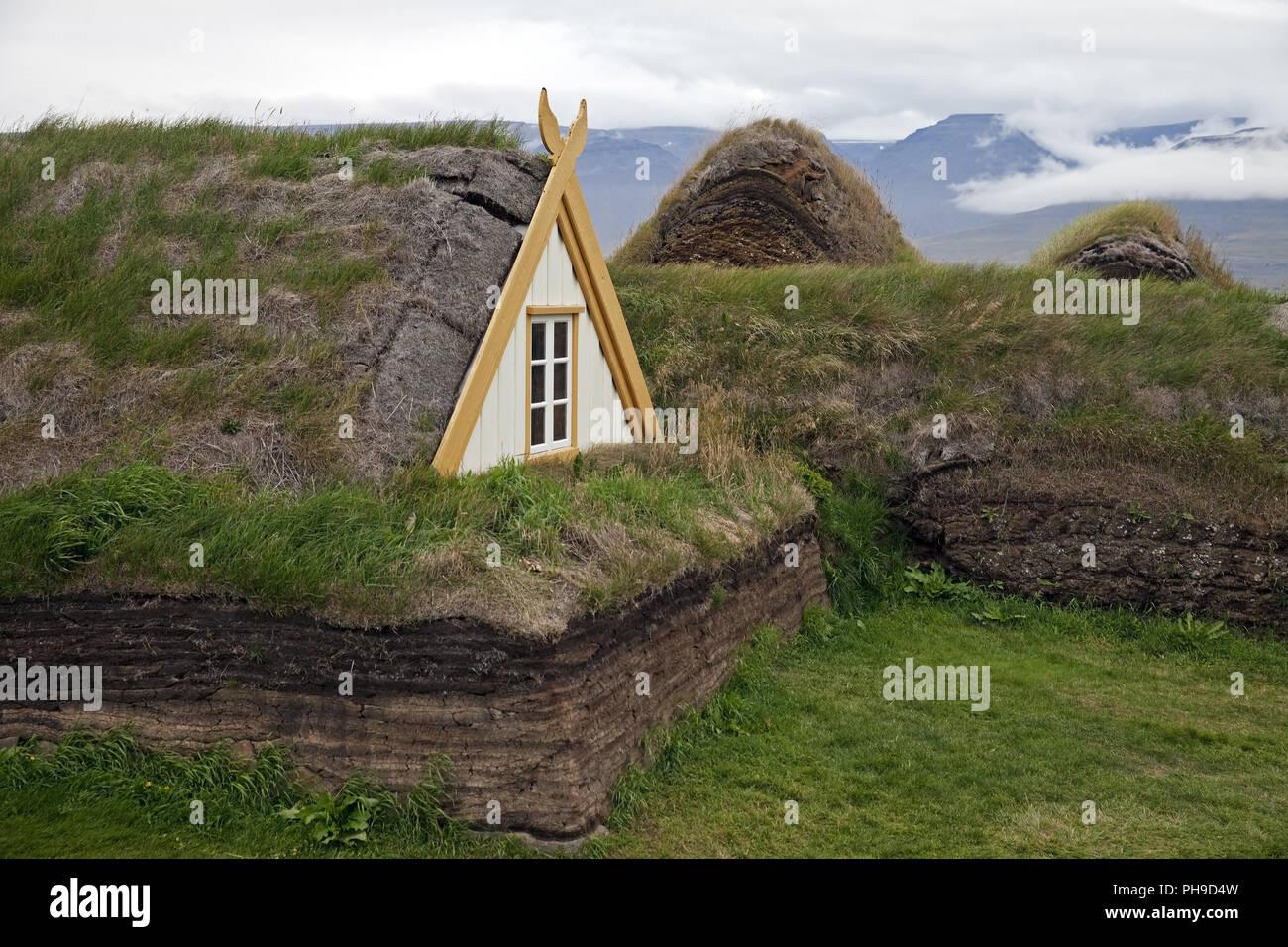 turf houses in Glaumbaer, Iceland - Stock Image