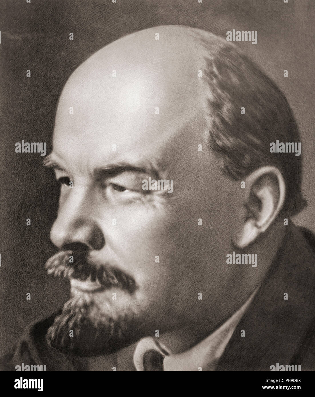 Vladimir Ilyich Ulyanov, known as Lenin, 1870-1924.  Russian politician, political theorist and head of the government of Soviet Russia, 1917-1924. - Stock Image