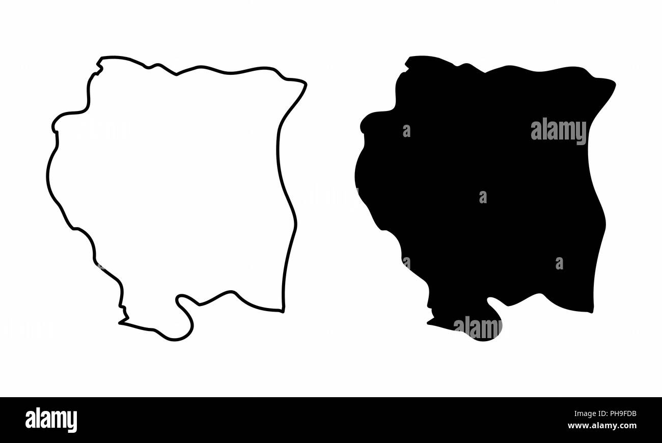 Simplified maps of Suriname. Black and white outlines. - Stock Image