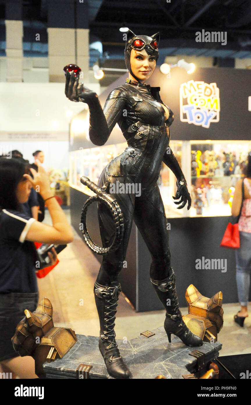 Fiction super villain action figure character of CAT WOMAN from DC movies and comic. Cat Woman action figure toys in various size display to public Stock Photo