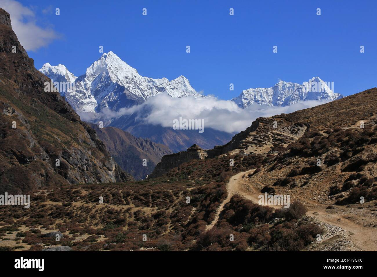 Trail in the Thame valley, Everest National Park - Stock Image