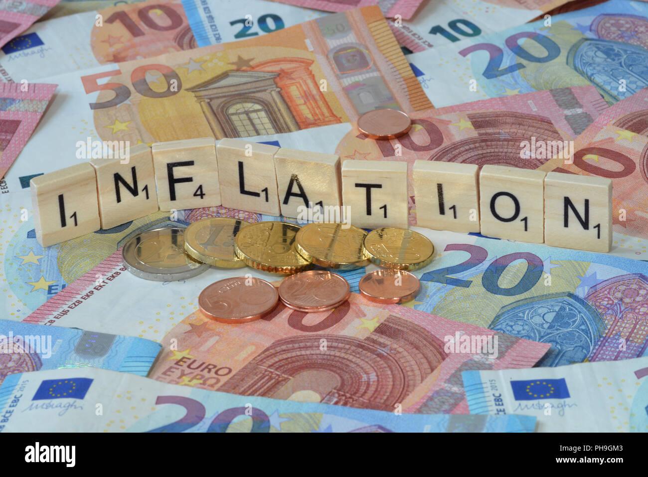 Symbolfoto Wirtschaftsbegriff Inflation - Stock Image