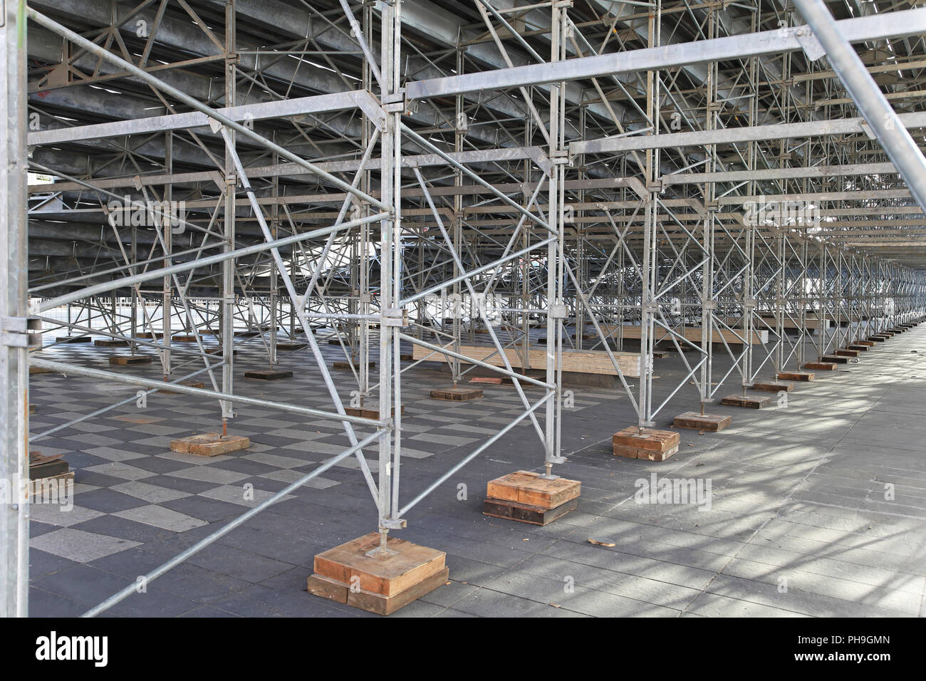 Galvanized steel support structure under prefabricated stands - Stock Image