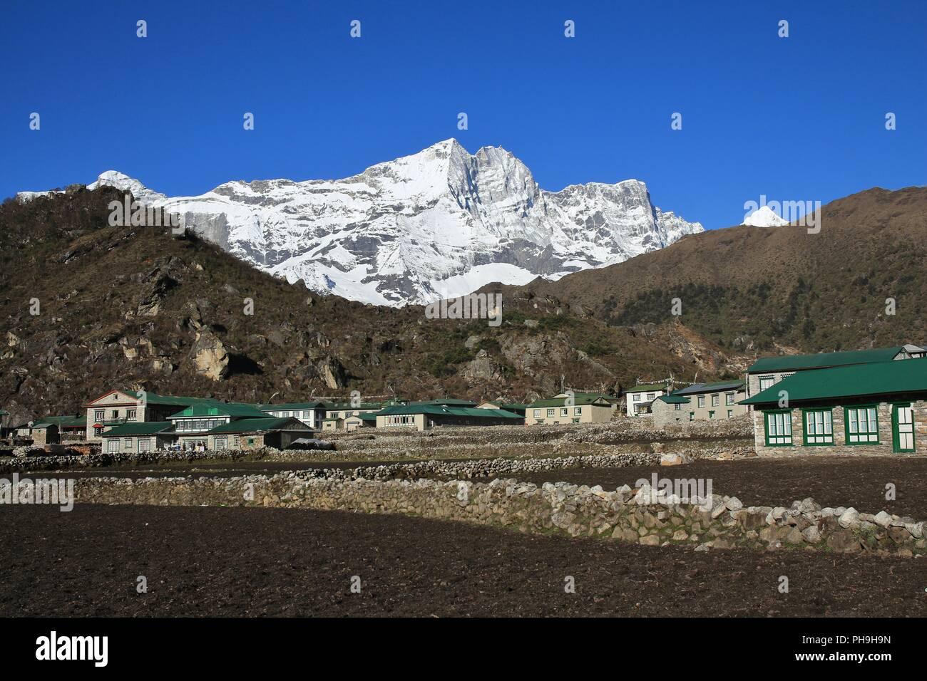 Sherpa village Khumjung, Everest National Park - Stock Image