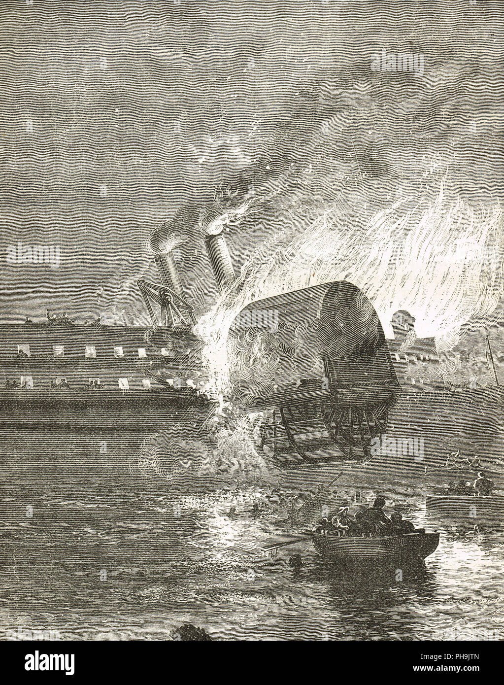 The steamboat Erie on fire, 9 August 1841, later renamed Jersey in the anonymous prose sketch, entitled The Helmsman of Lake Erie - Stock Image