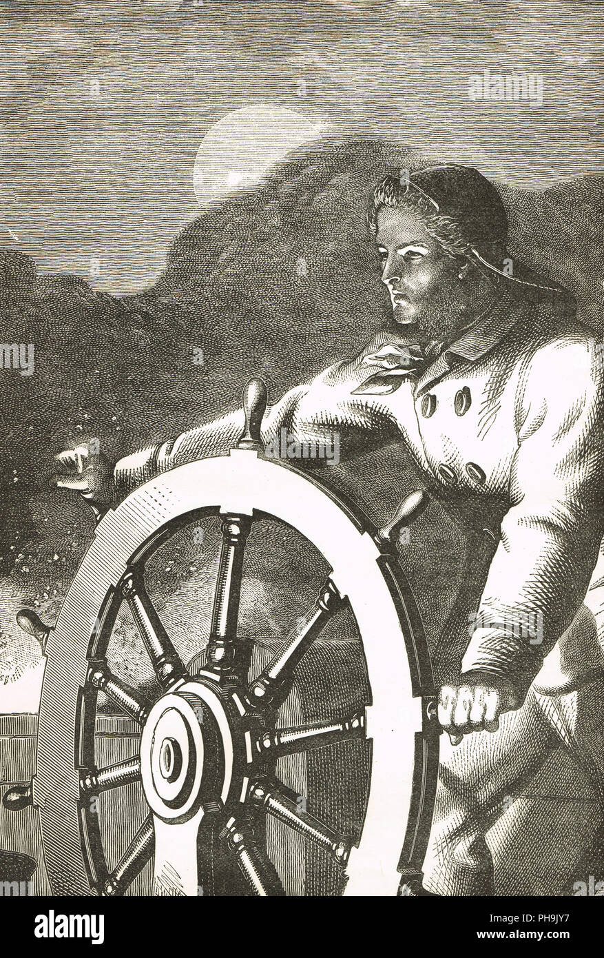 Augustus Fuller, also known as Luther Fuller and John Maynard.  The hero of Lake Erie, 9 August 1841.  At the helm of the steamboat Erie (later renamed Jersey in the anonymous prose sketch entitled The Helmsman of Lake Erie) - Stock Image