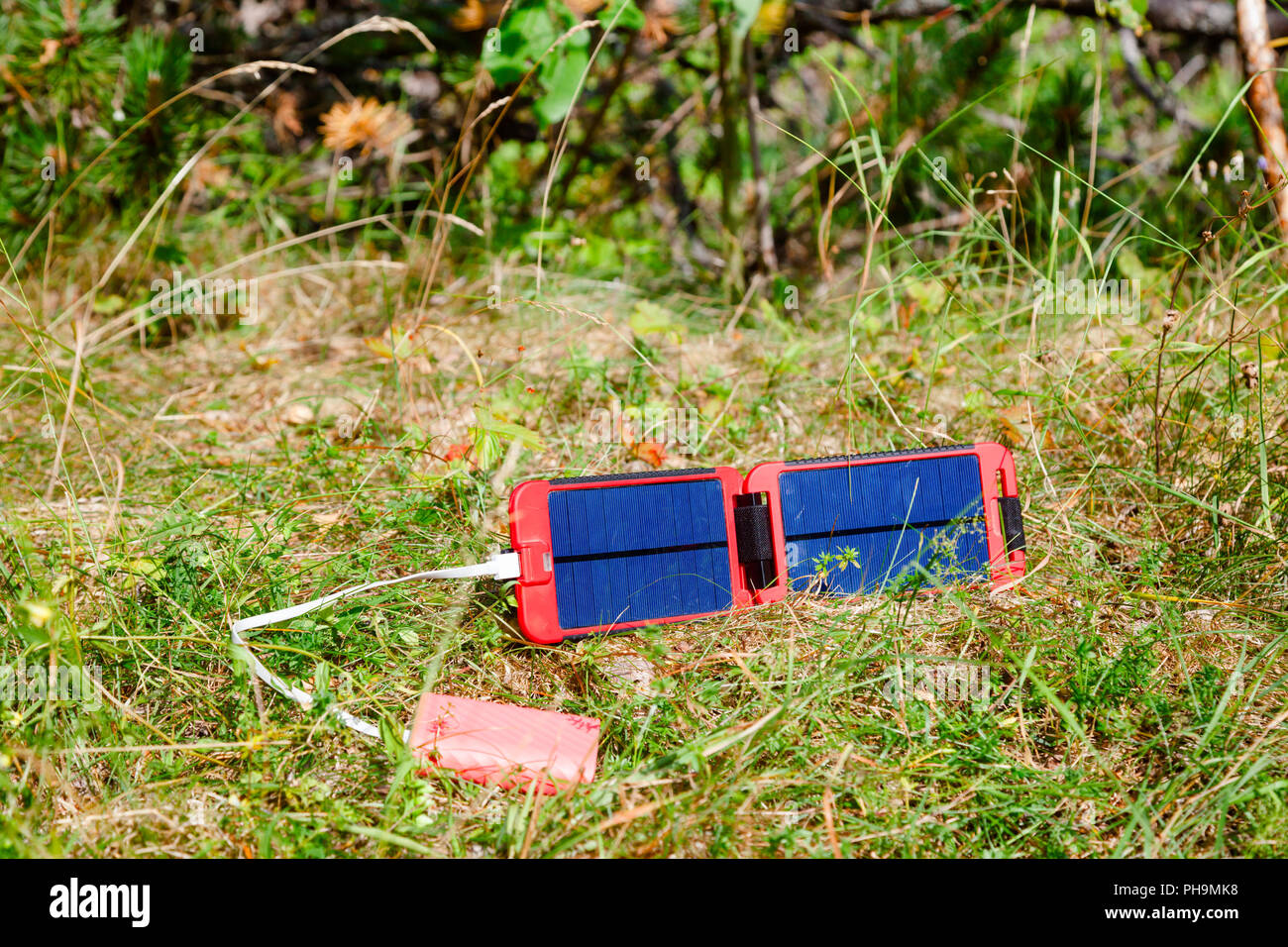 Portable solar panel charges the battery of a powerbank - an alternative energy source in the wild concept - Stock Image