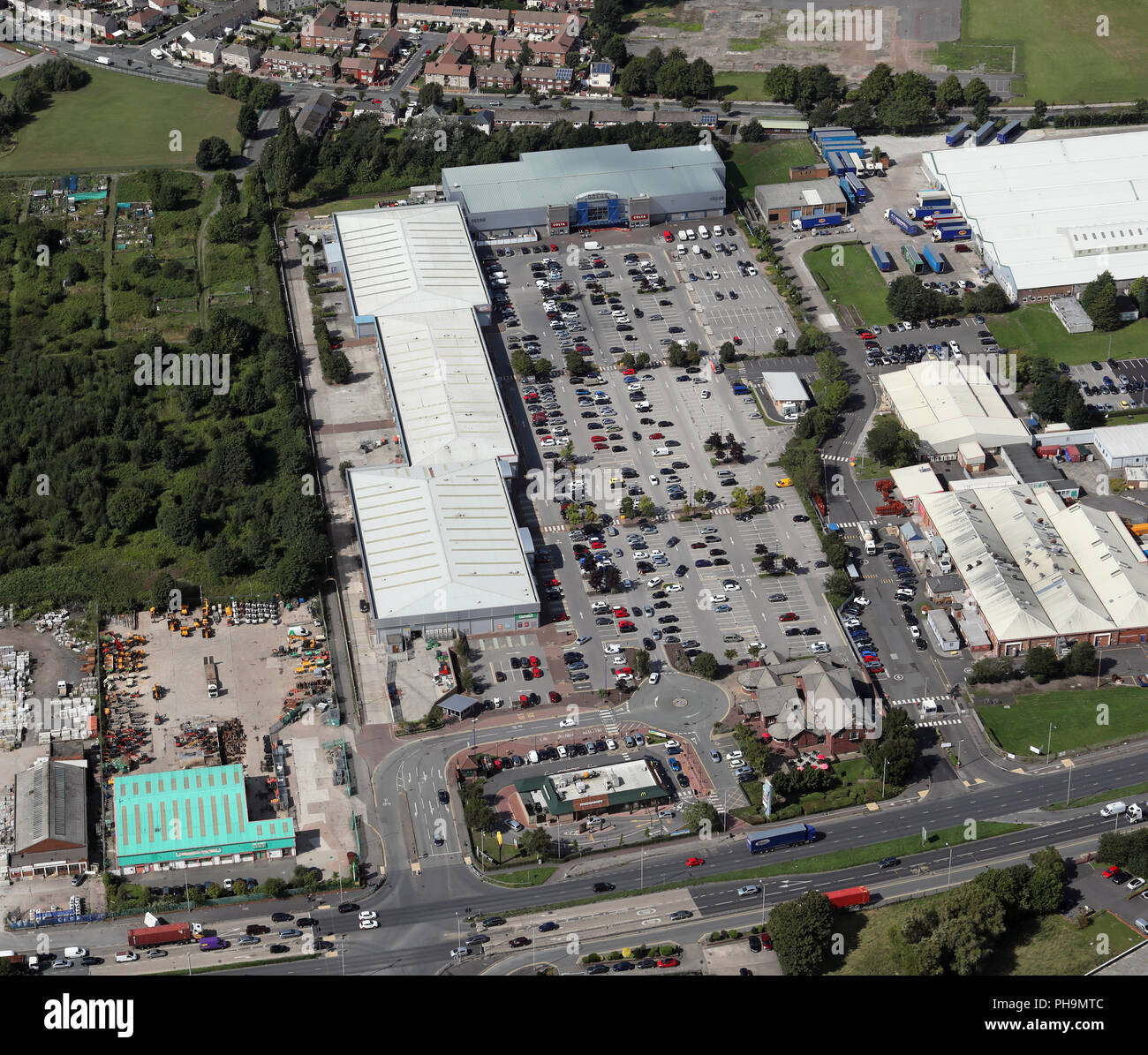 aerial view of Switch Island Leisure Park, Aintree, Liverpool - Stock Image