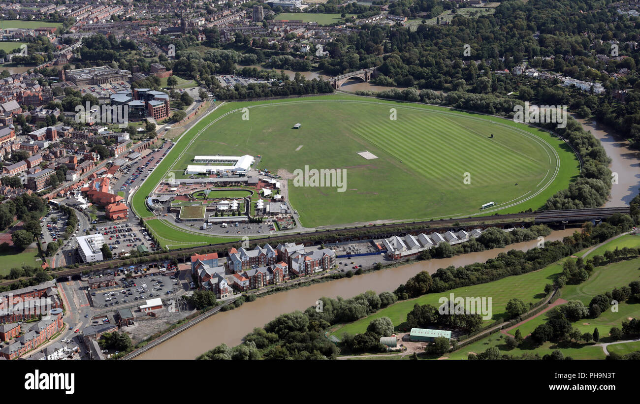 aerial view of Chester Racecourse, also known as the Roodee, Cheshire - Stock Image