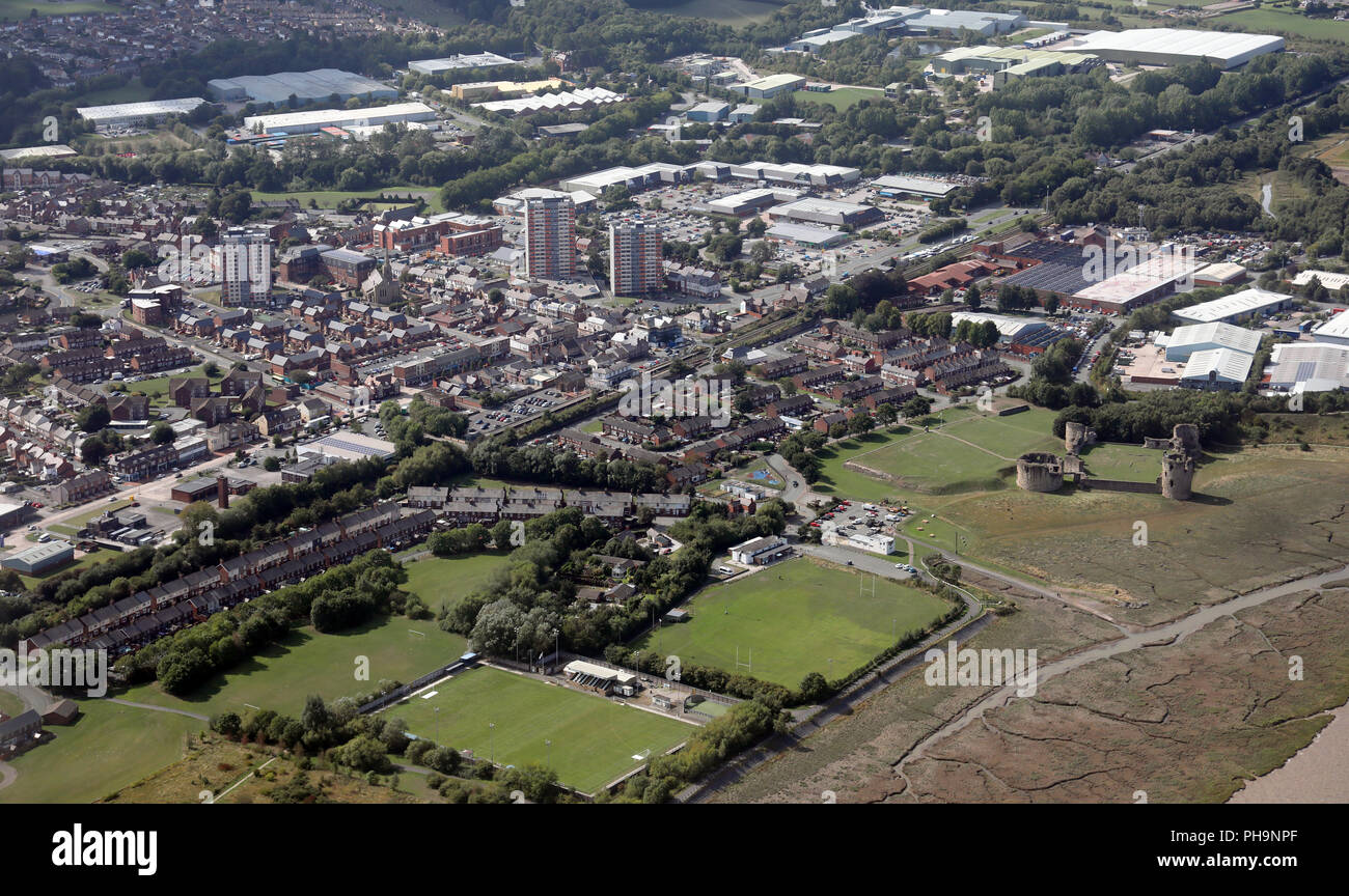 aerial view of the Welsh town of Flint - Stock Image