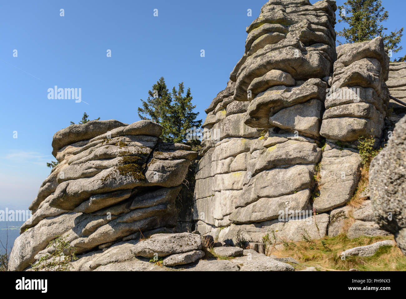 Granites and boulders in the Dreisesselberg nature reserve - Stock Image