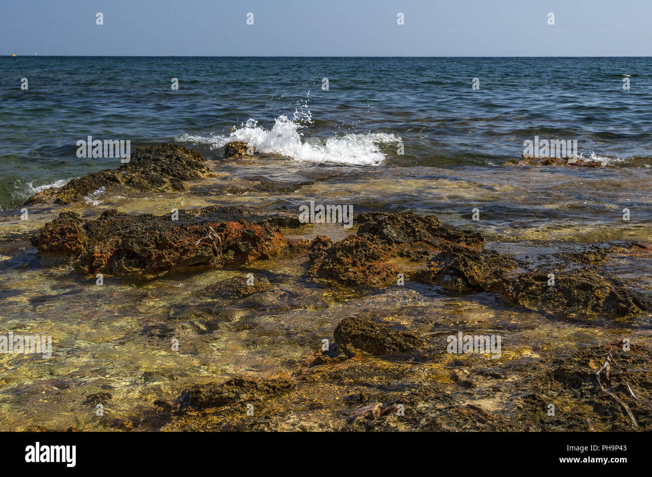 seaboard stones sea waves - Stock Image