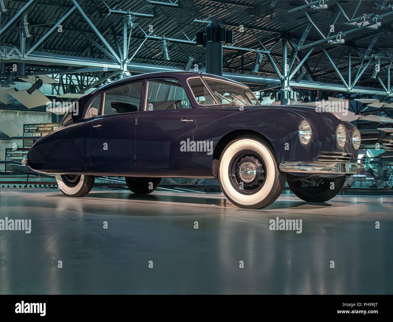 RIGA, LATVIA-APRIL 18, 2018: 1949 Tatra 87 in the Riga Motor Museum. - Stock Image