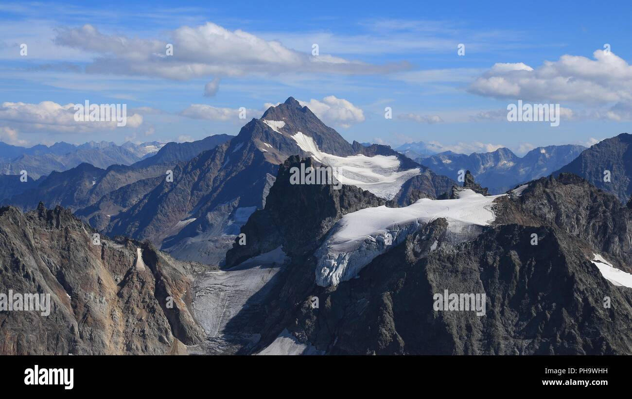 Summer in the Swiss Alps, view from mount Titlis. - Stock Photo
