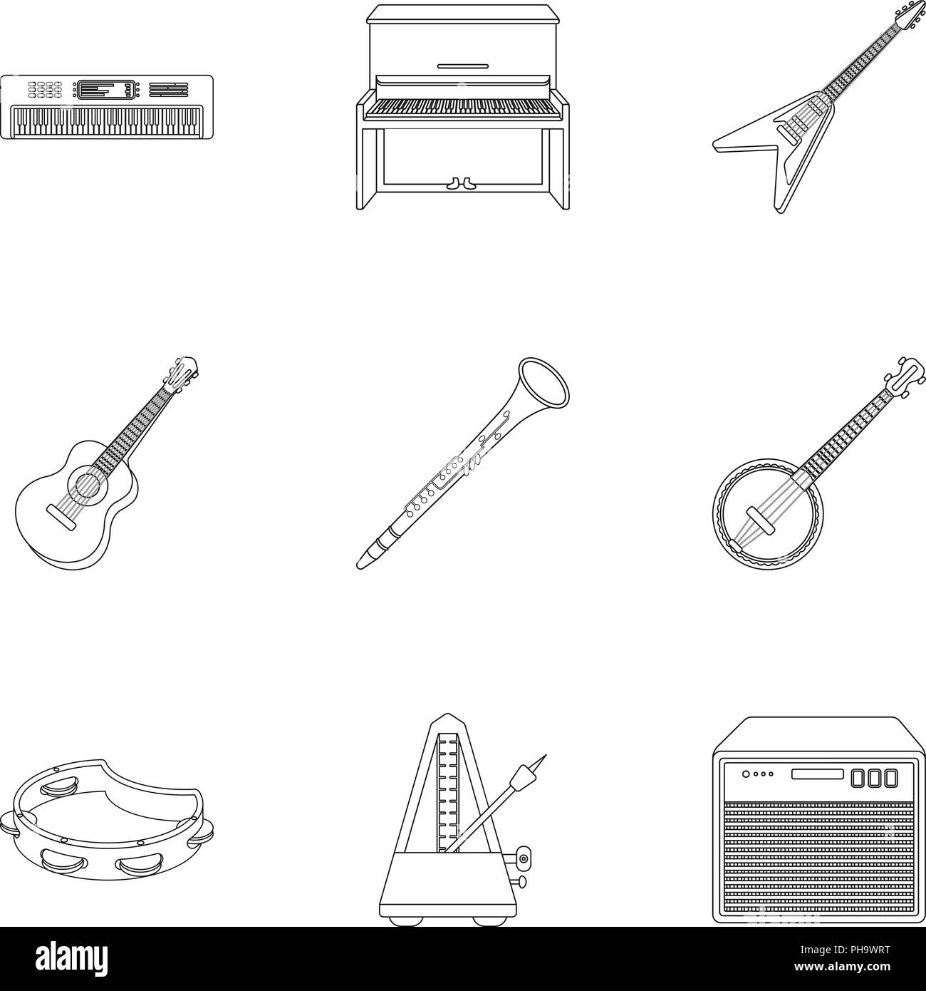 Musical instruments set icons in outline style. Big collection of musical instruments vector symbol stock - Stock Image