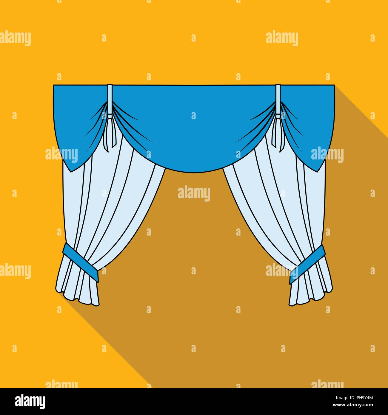 Curtains with drapery on the cornice.Curtains single icon in flat style vector symbol stock illustration . - Stock Vector