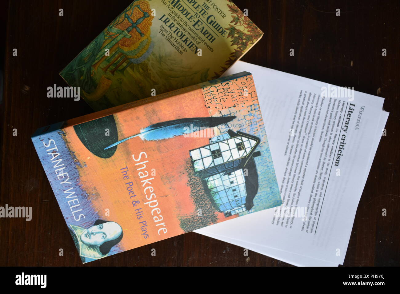 Books on literary criticism aand glasses/travel guide - Stock Image