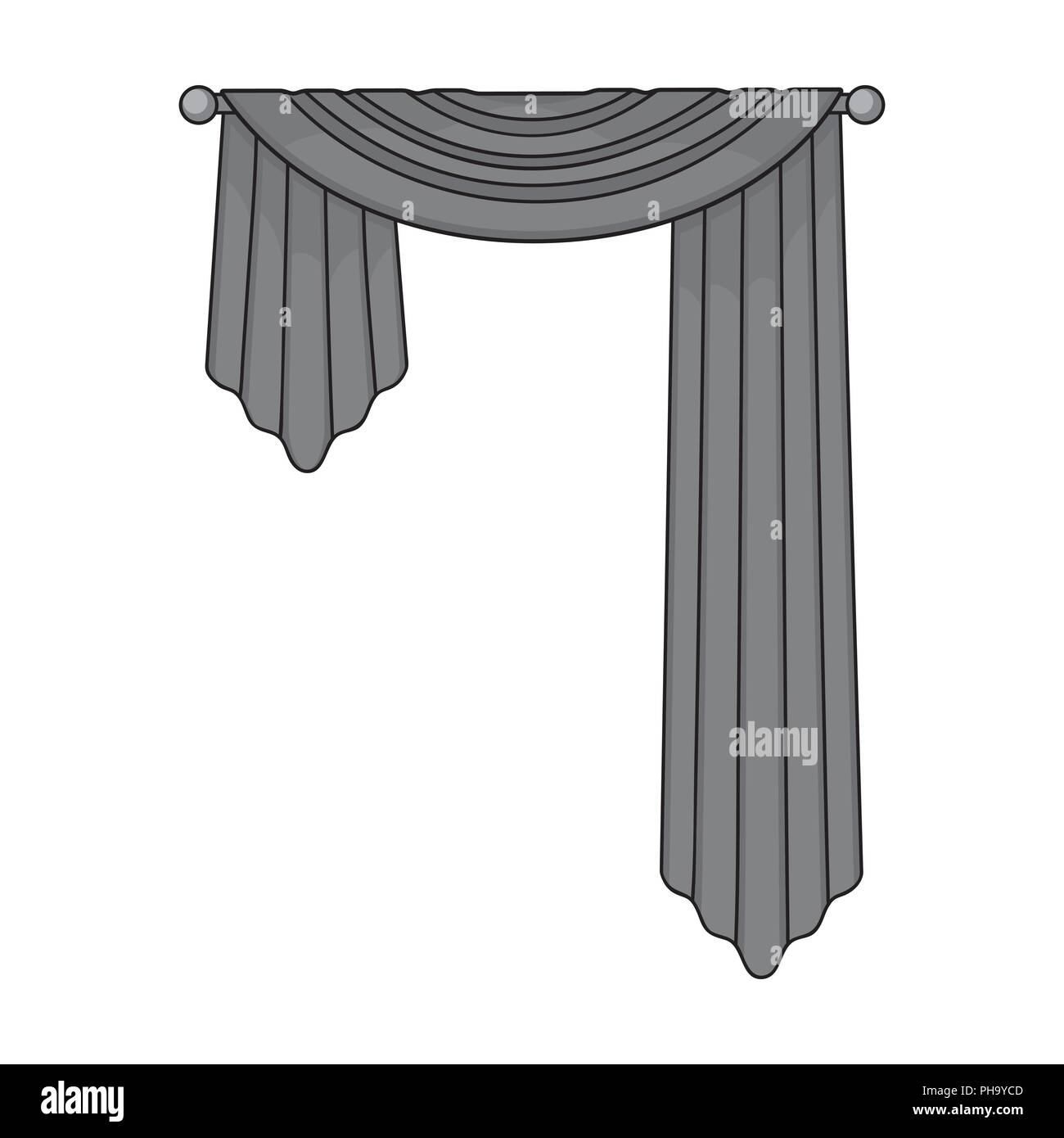Curtains with drapery on the cornice.Curtains single icon in monochrome style vector symbol stock illustration . Stock Vector