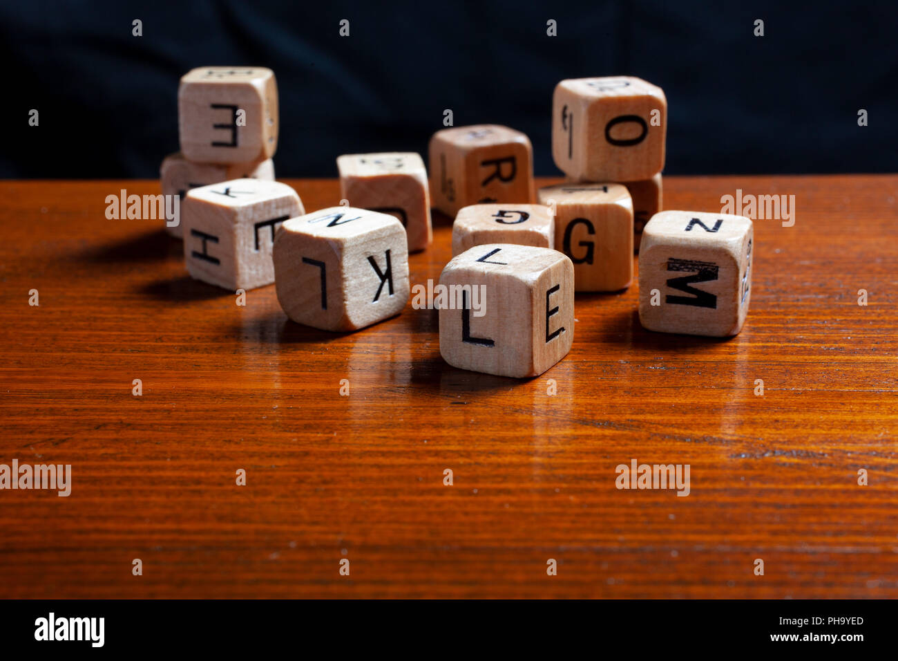 wooden letter dices - Stock Image