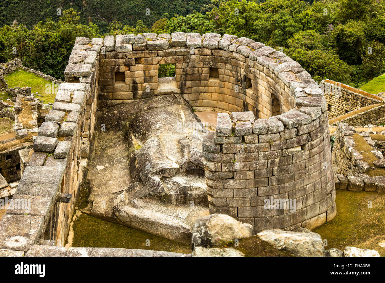 Sun Temple in the sanctuary of Machu Picchu Ruins, Sacred Valley, near Agua Calientes, Peru - Stock Image