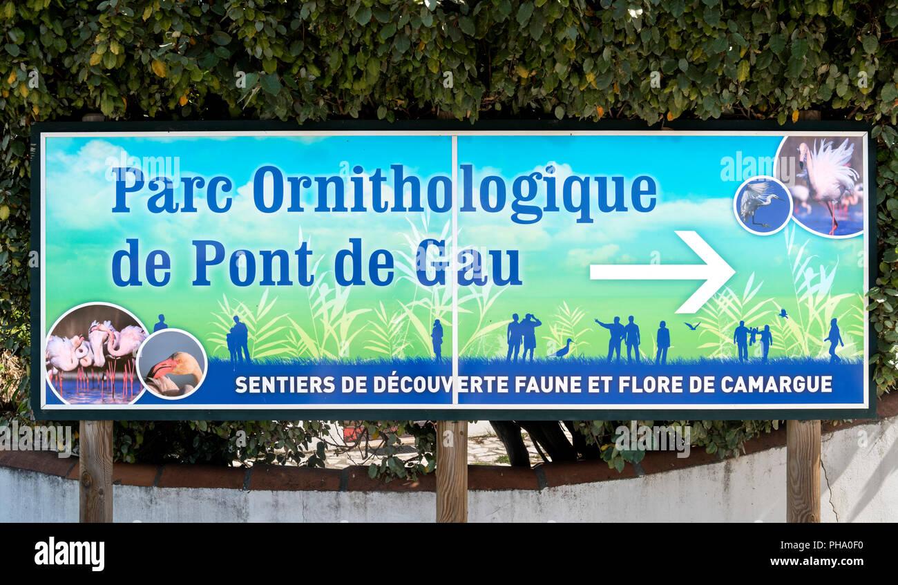 Camargue, France. Entrance sign to the Parc ornithologique du Pont de Gau, Camargue, Provence, France. - Stock Image