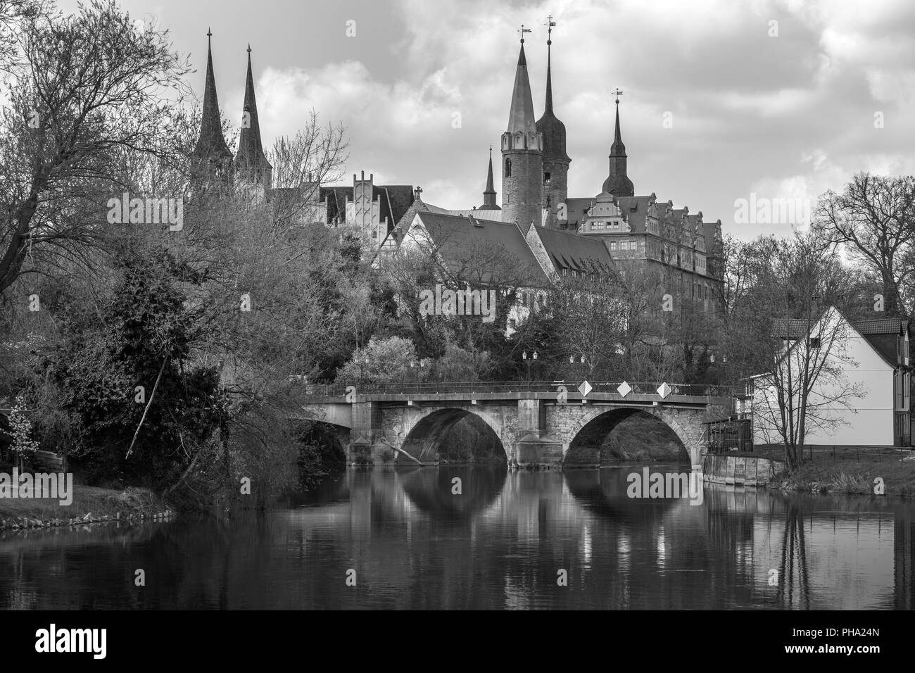 Cathedral and castle from Merseburg at the Saale river Stock Photo