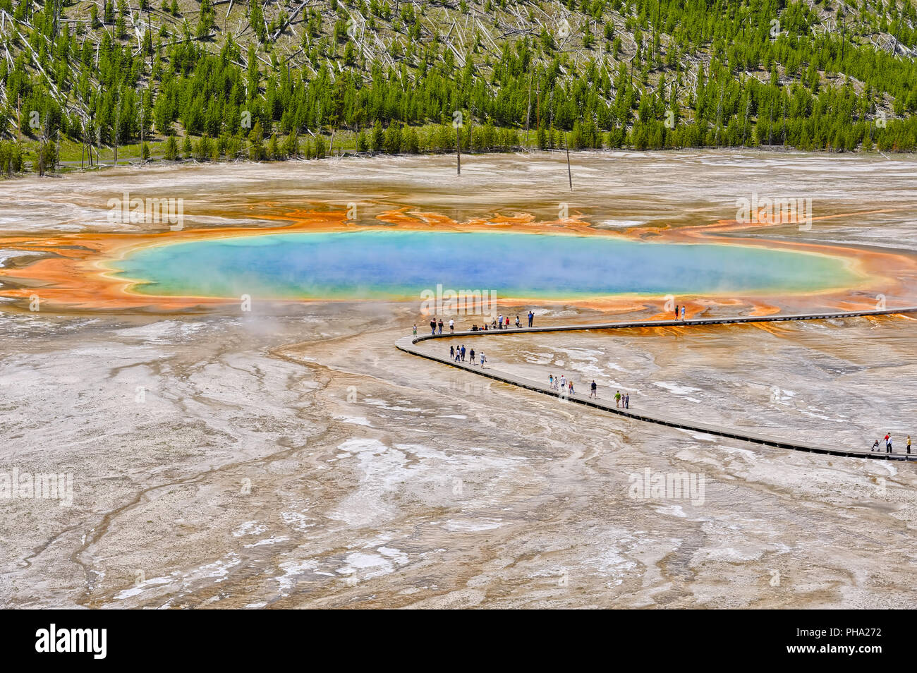 Visitors exploring the amazing colors of the Grand Prismatic Spring - Stock Image