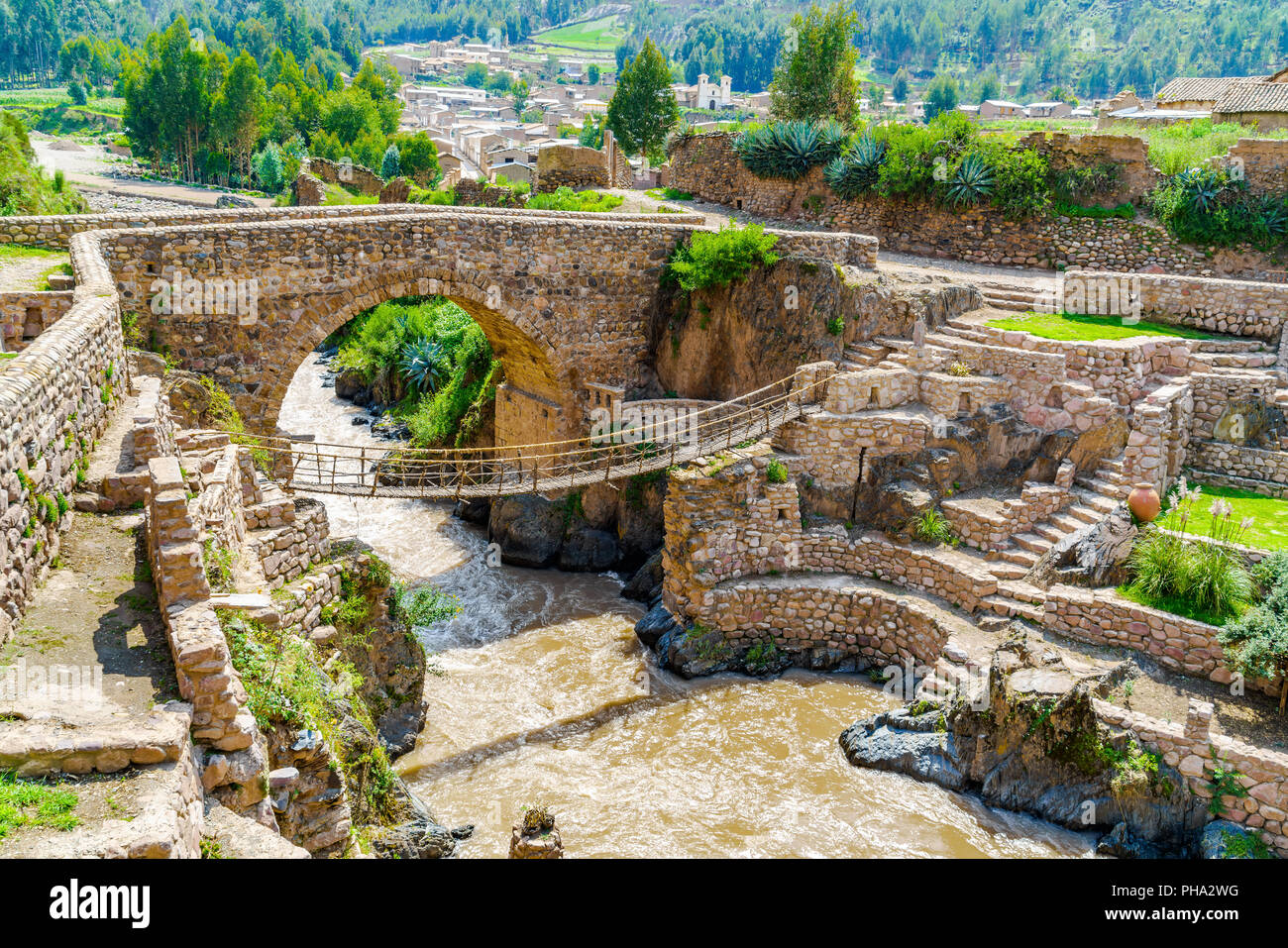 Pre-Inca Leather Suspension Bridge - Stock Image
