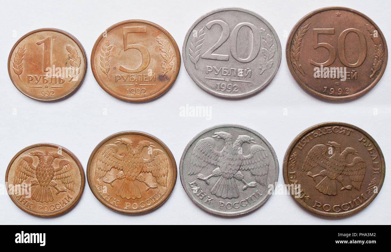 Set of Russian rubbles coins, 1992-1993 - Stock Image