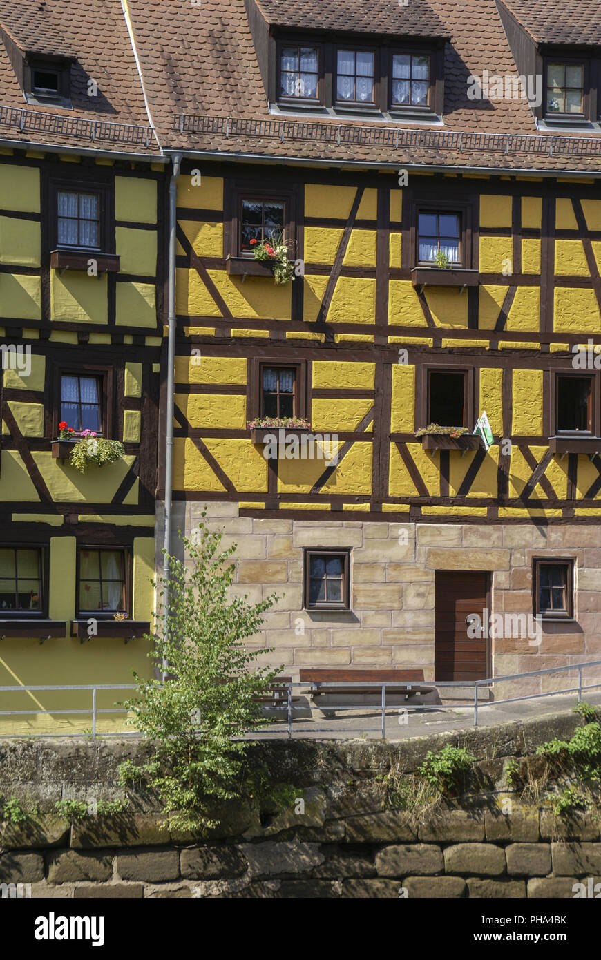 Half-Timbering Houses in Stein, Bavaria, Germany - Stock Image