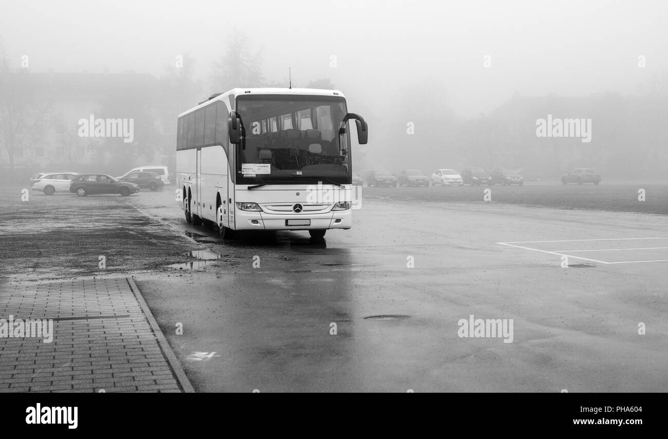 Parked in the fog. . . - Stock Image