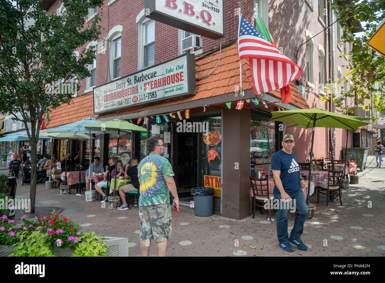 Portuguese restaurant on Ferry Street in the Ironbound neighborhood in Newark, NJ on Saturday, August 25, 2018. The neighborhood is a Portuguese enclave and a major tourist attraction for the city. (© Richard B. Levine) - Stock Image
