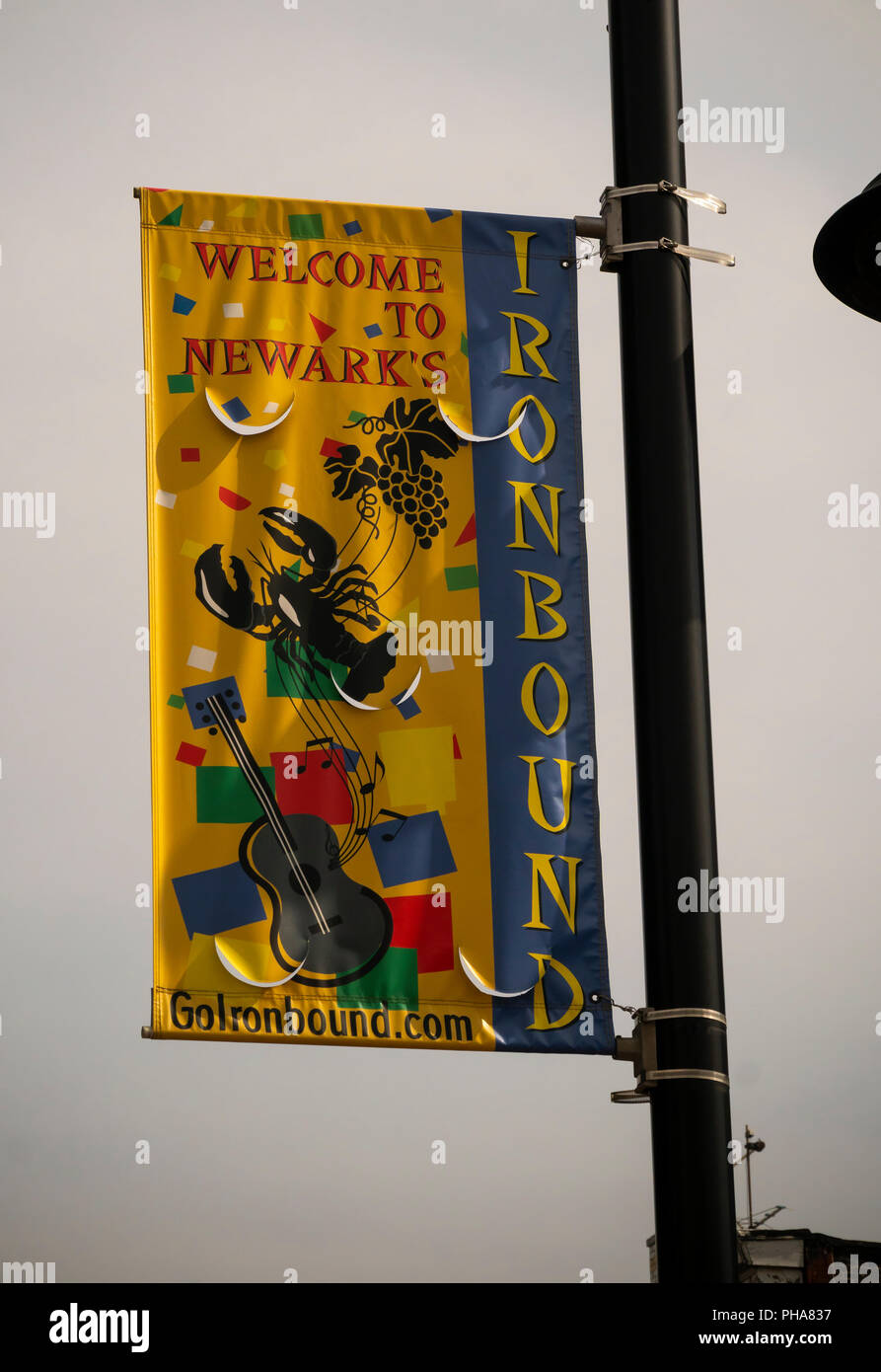 A banner in the Ironbound neighborhood in Newark, NJ on Saturday, August 25, 2018. The neighborhood is a Portuguese enclave and a major tourist attraction for the city. (© Richard B. Levine) - Stock Image
